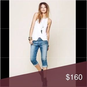 Free People artisan delux ankled paint denim jeans